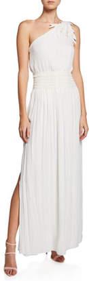 Halston One-Shoulder Smocked-Waist Gown w/ Floral Applique