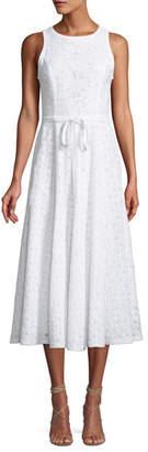 Andrew Gn Sleeveless Eyelet Tie-Waist A-Line Midi Dress