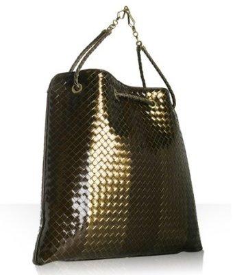 Bottega Veneta bronze woven leather shoulder bag