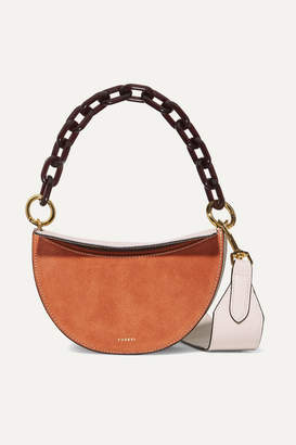 Yuzefi Doris Two-tone Suede And Textured-leather Shoulder Bag - Brown