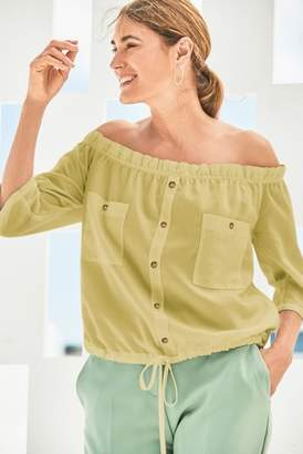 Next Womens Green Utility Bardot Top