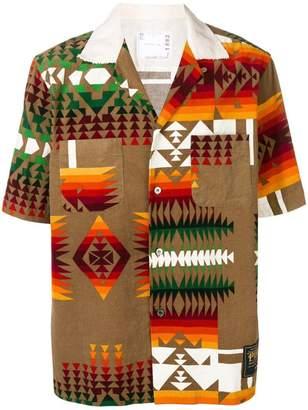 Sacai tribal print corduroy shirt