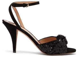 Valentino Liquid Metal Glow Sequin Embellished Sandals - Womens - Black