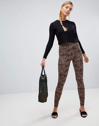 Monki leopard print leggings in brown