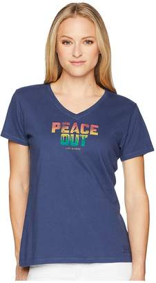 Life is Good Peace Out Crusher Vee Women's T Shirt