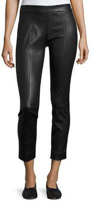 Vince Stitch-Front Leather Leggings, Black $1,150 thestylecure.com
