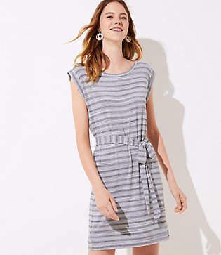 LOFT Petite Striped Belted Tee Dress