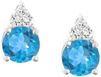 Premier 1.60cttw Round Blue Topaz & Diamond Earrings, 14K