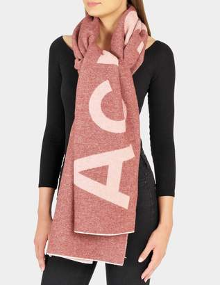Acne Studios 220X50 Toronto Logo Scarf in Pink Wool and Polyamide