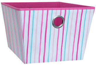Laura Ashley Large Grommet Storage Bin in Painterly Pink Stripe