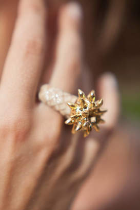 And Mary Pineapple With Gold Leaves Ring
