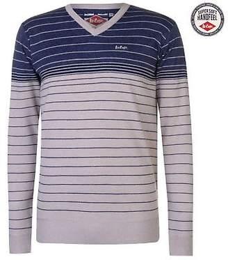 Lee Cooper Mens Striped V Neck Jumper Sweater Pullover Long Sleeve Stripe