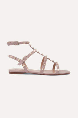 Valentino Garavani The Rockstud Leather Sandals - Antique rose