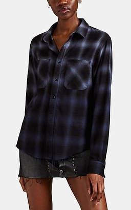 Amiri Women's Ombré Plaid Cotton-Blend Flannel Shirt - Blue