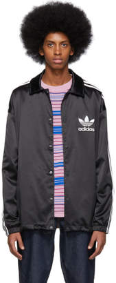 adidas Black Satin Coach Jacket