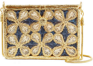 Mariposa Magnetic Midnight - Flores Woven Palm Leaf And Gold-plated Shoulder Bag - Midnight blue
