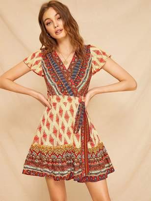 Shein Aztec Print Knot Side Wrap Dress