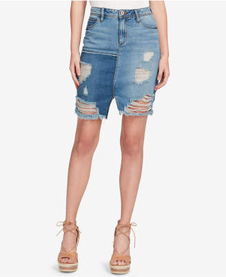 Jessica Simpson Juniors' Cotton Ripped Denim Skirt