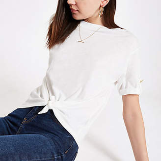 River Island Womens White tie front T-shirt
