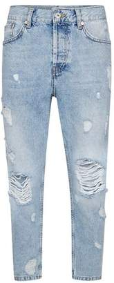 Topman Mens Blue Light Wash Extreme Ripped Tapered Jeans