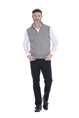 Cashmeren Men's Wool Cashmere 1/4 Zip Vest (