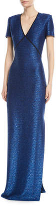 St. John Luster Sequin V-Neck Evening Gown