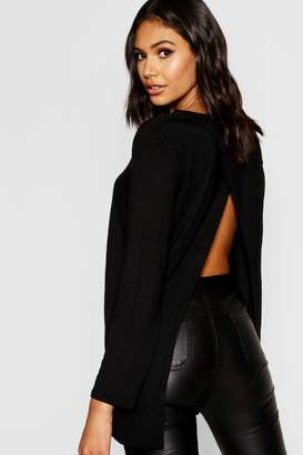 boohoo Split Open Back Long Sleeve T-Shirt
