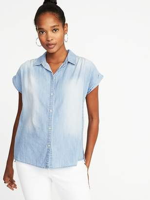 Old Navy Relaxed Button-Front Chambray Shirt for Women