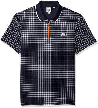Lacoste Men's Short Sleeve Pique Ultra Dry with Check Print & Contrast Zipper Polo, DH3337