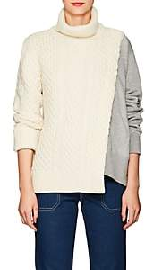 Sacai Women's Cable-Knit & Terry Turtleneck Sweater-Off white, Grey