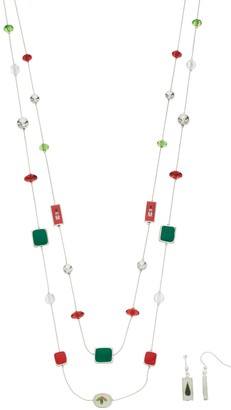 Christmas Bead Double Strand Necklace & Drop Earring Set