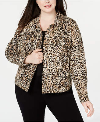 e20007440f5d INC International Concepts I.n.c. Plus Size Leopard-Print Denim Jacket