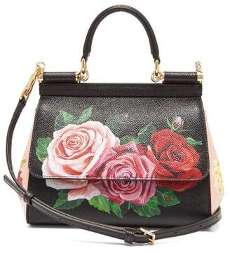 0d293b1e9e23 Dolce   Gabbana Sicily Small Rose Print Dauphine Leather Bag - Womens -  Black Multi