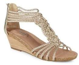 Me Too Trista Braided Metallic Leather Wedge Sandals