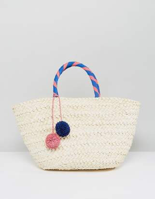 South Beach Wrapped Handle Straw Beach Bag With Pom