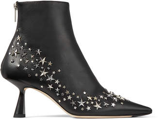 Jimmy Choo KIX 65 Black Nappa Leather Pointed Toe Booties with Star Constellation Detail