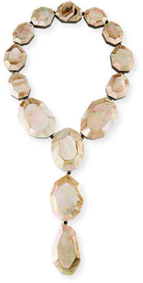 Viktoria Hayman Faceted Pink Mother-of-Pearl Lariat Necklace