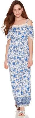 M&Co Petite floral print cold shoulder maxi dress