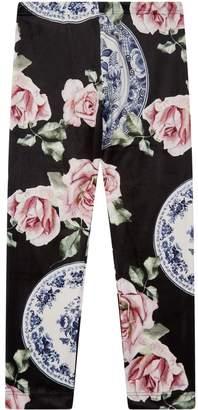 MonnaLisa Velvet Rose Print Leggings