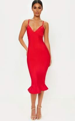 PrettyLittleThing Red Bandage Strappy Frill Hem Midi Dress
