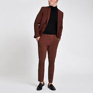River Island Rust stretch skinny fit suit pants