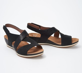 Dansko Nubuck Cutout Wedge Sandals - Vicky