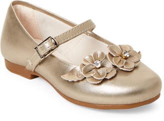 Pampili Toddler/Kids Girls) Gold Flower Mary Jane Shoes