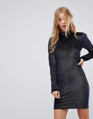 Glamorous High Neck Bodycon Dress In Glitter Velvet