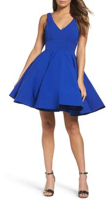 Mac Duggal IEENA FOR Double V-Neck Fit & Flare Party Dress
