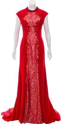 Mac Duggal Lace Paneled Evening Dress