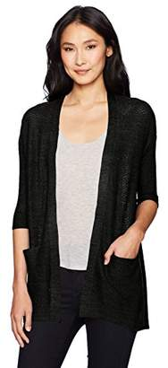 Democracy Women's L/s Lace Up Back Open Front Cardigan
