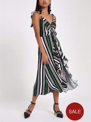 River Island RI Petite Ruched Detail Stripe Slip Dress - Multi