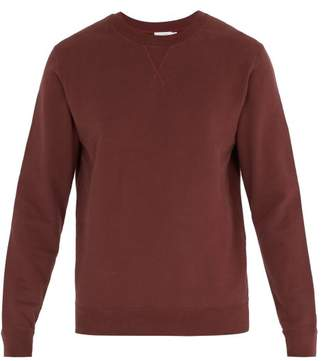 Sunspel Crew Neck Cotton Jersey Sweatshirt - Mens - Burgundy