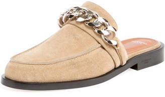 Givenchy Suede Flat Mule Loafer, Beige/Camel